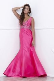 NOX A N A B E L Fuchsia Beaded Fit & Flare Long Formal Dress - Product Mini Image