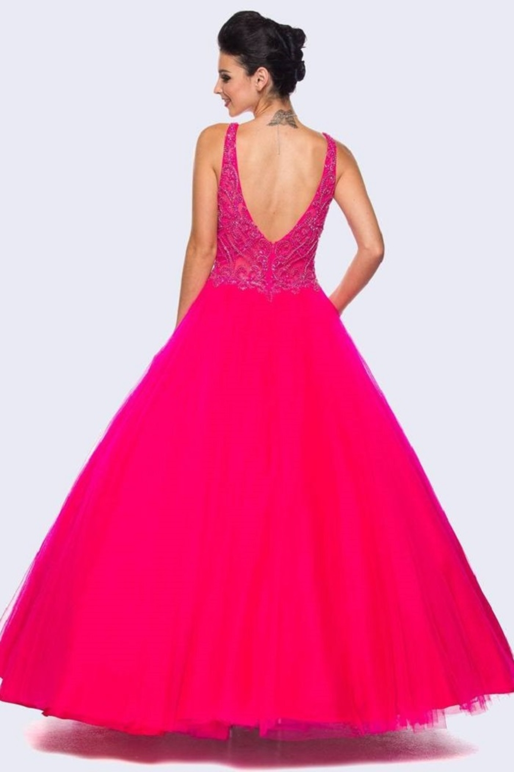Juliet Fuchsia Beaded Formal Ball Gown - Front Full Image