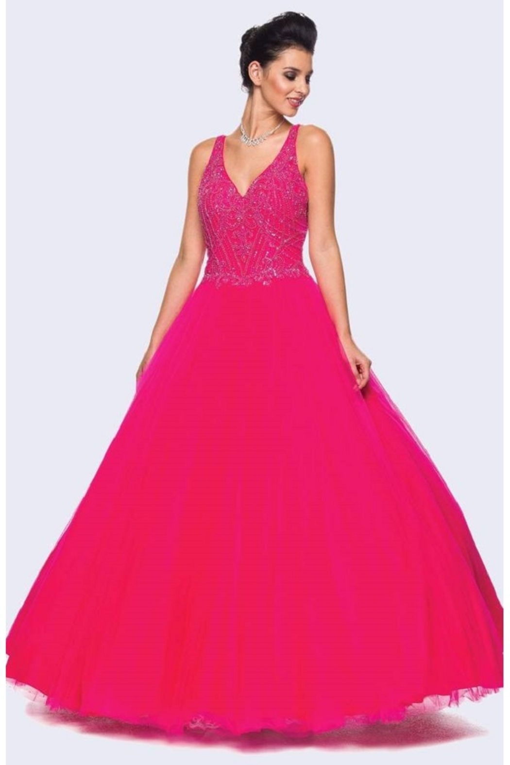 Juliet Fuchsia Beaded Formal Ball Gown - Main Image