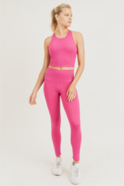 Mono B Fuchsia Bra & Legging Workout Set - Product Mini Image