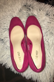 Anne Klein Fuchsia Pink Suede Block Heel Pumps Size 7.5 - Back cropped
