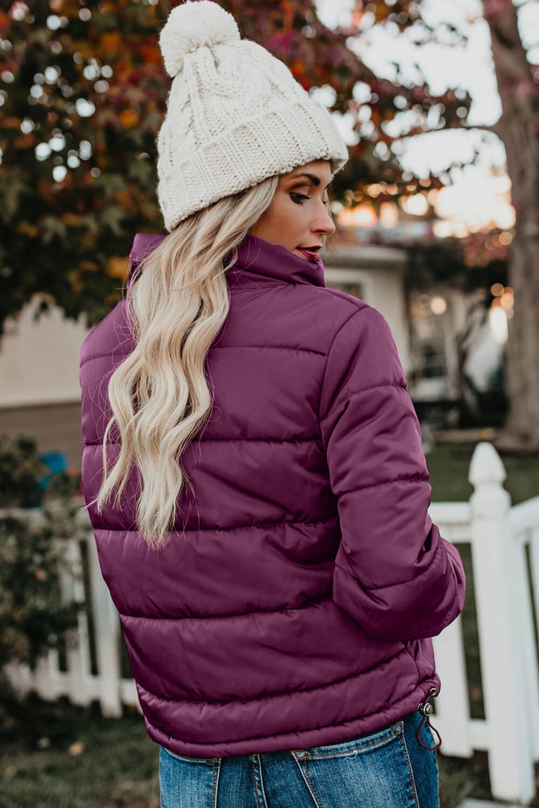 Love Valentine Boutique Fuchsia Puffer Jacket - Front Full Image