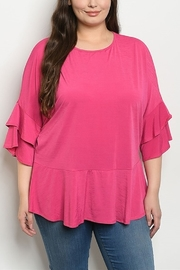 Lyn -Maree's Fuchsia Ruffle Sleeve Top - Product Mini Image