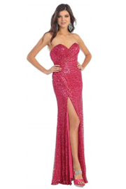 Mayqueen Fuchsia Sequin Long Dress - Product Mini Image