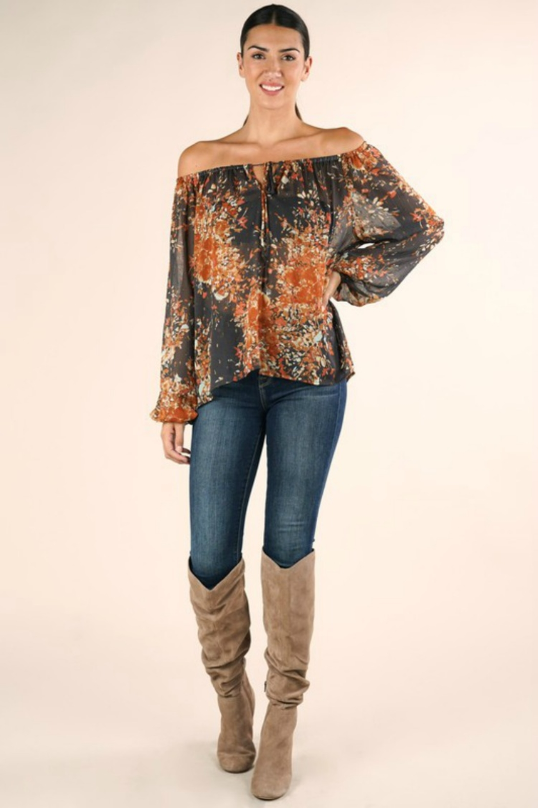 Lovestitch FULL FALL BLOOM BLOUSE - Front Cropped Image