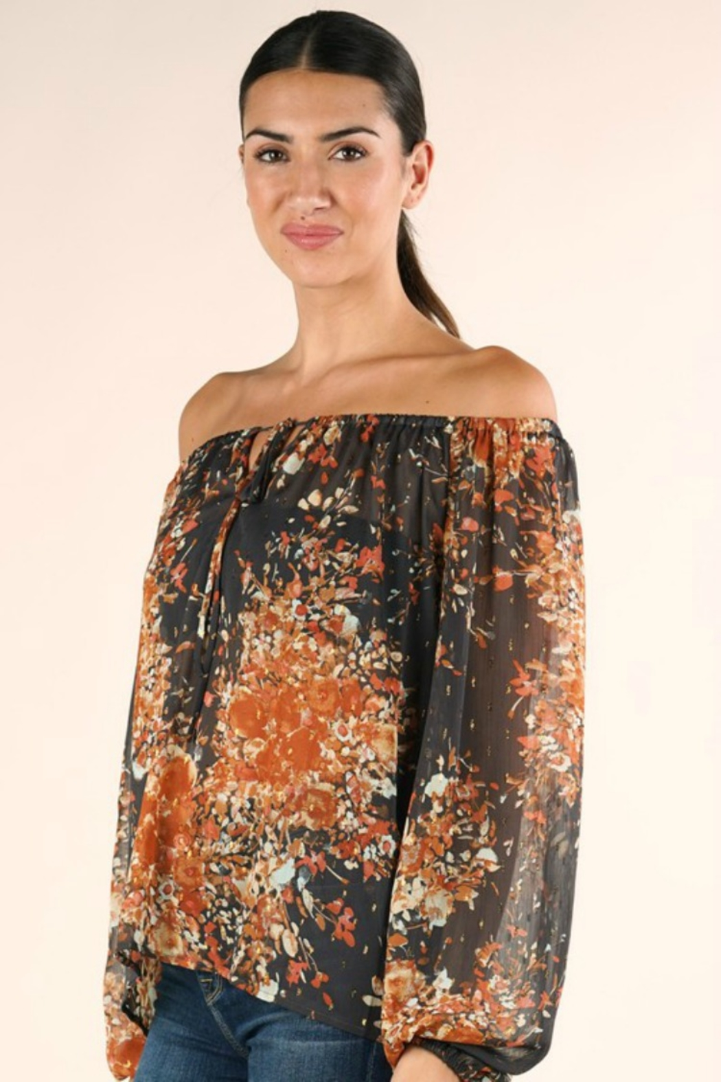 Lovestitch FULL FALL BLOOM BLOUSE - Back Cropped Image