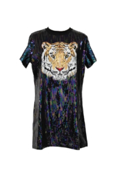 Queen Of Sparkles Full Sequin Tiger Dress - Product Mini Image