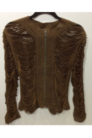 Natto Full Shreaded Laser Cut Leather Lamb Skin Jacket - Front cropped