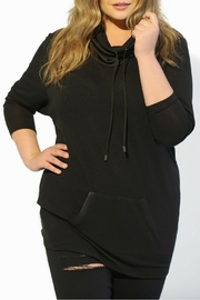 Full Figured Fashionista Black Cowl Tunic Top - Front cropped