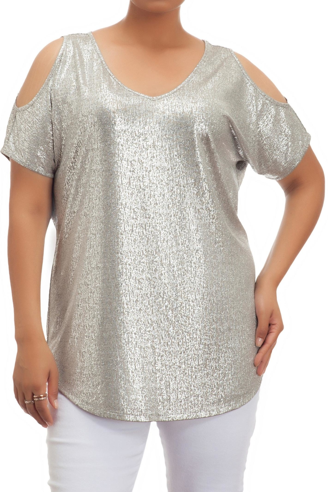 Full Figured Fashionista Cold Shoulder Tunic - Front Cropped Image