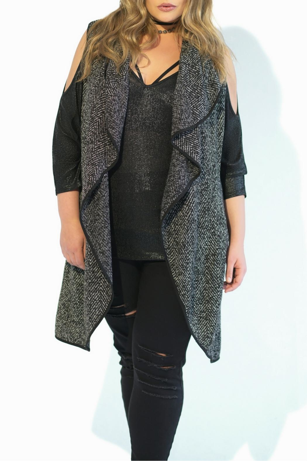 Full Figured Fashionista Grey Long Vest - Front Full Image