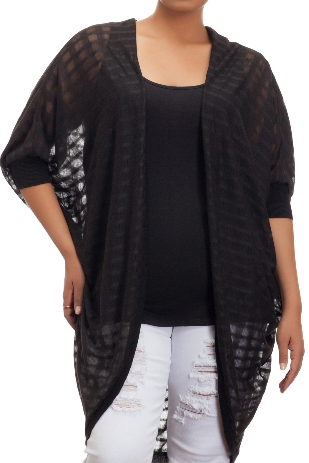 Full Figured Fashionista Long Black Shrug - Main Image