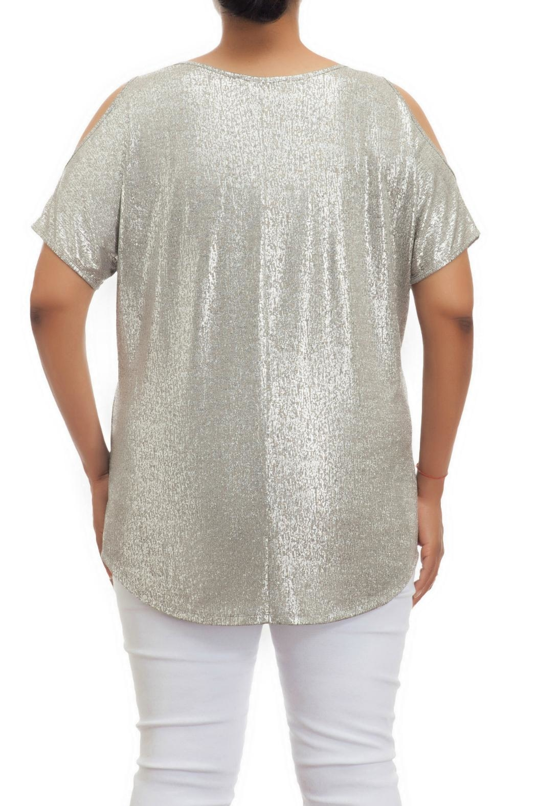 Full Figured Fashionista Metallic Cold Shoulder Top - Front Full Image
