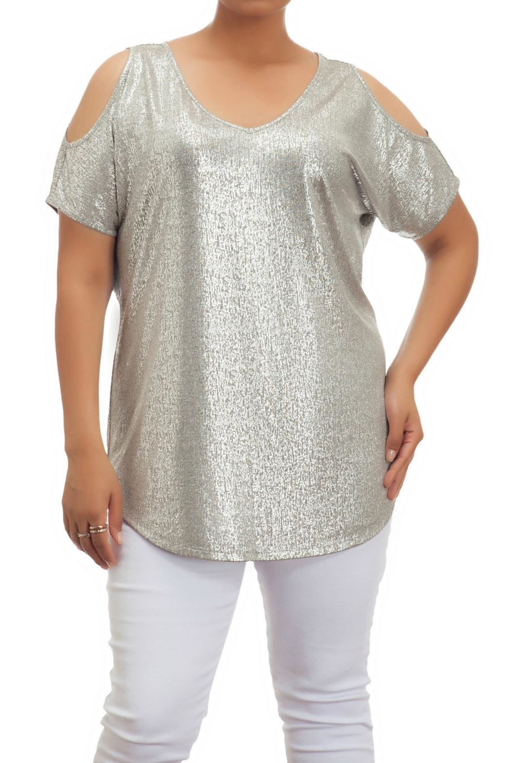 Full Figured Fashionista Metallic Cold Shoulder Top - Main Image
