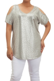Full Figured Fashionista Metallic Cold Shoulder Top - Front cropped