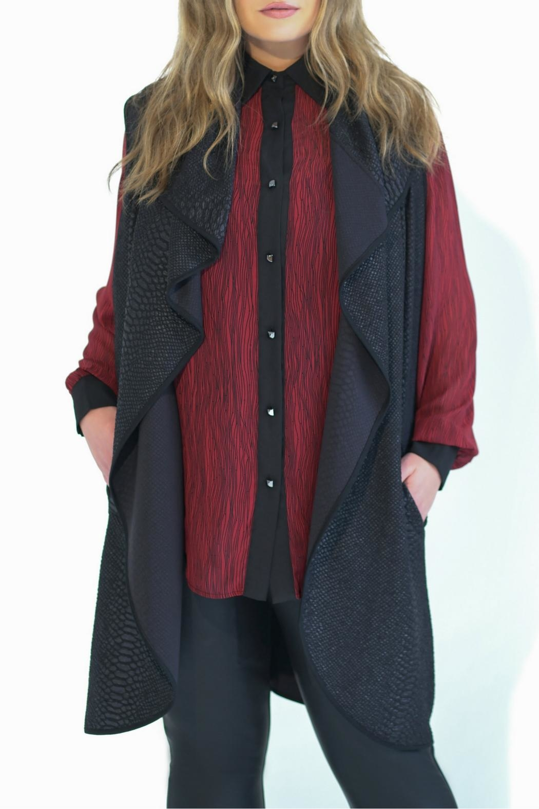 Full Figured Fashionista Red Buttondown Blouse - Front Full Image