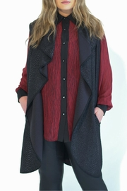 Full Figured Fashionista Red Buttondown Blouse - Front full body