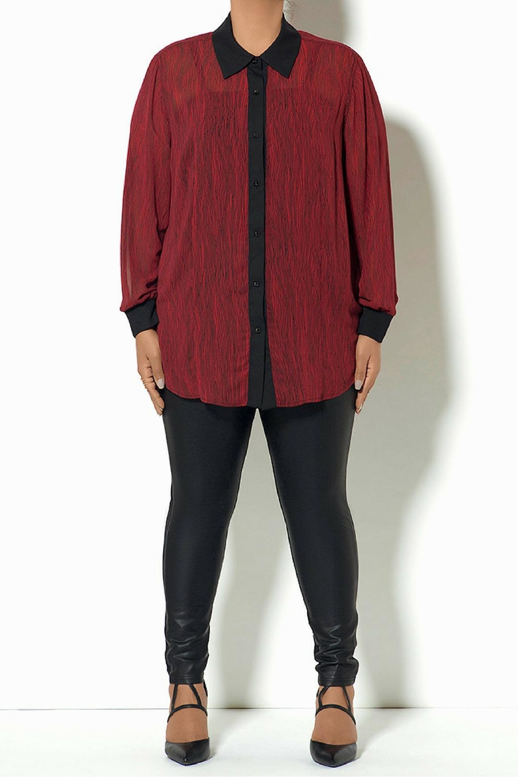 Full Figured Fashionista Red Buttondown Blouse - Main Image