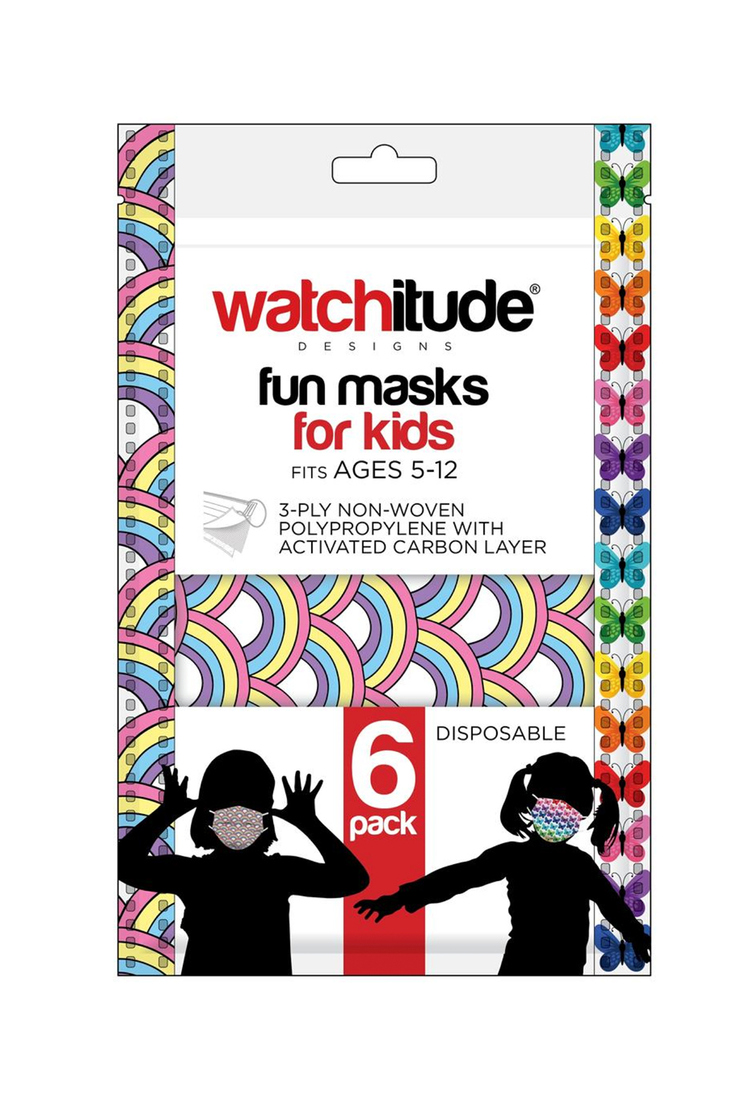 Watchitude Fun Carbon Masks Butterfly/Rainbow Playground 6 Pack - Kids Ages 5-12 - Main Image