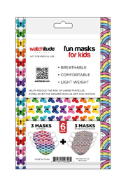 Watchitude Fun Carbon Masks Butterfly/Rainbow Playground 6 Pack - Kids Ages 5-12 - Side cropped