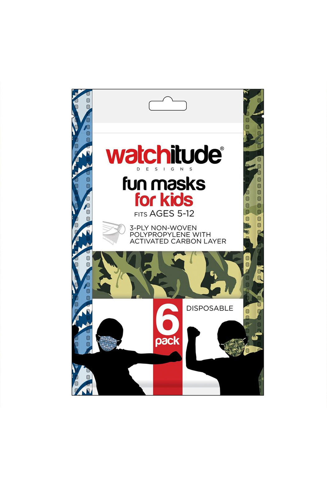 Watchitude Fun Carbon Masks Shark Frenzy/Dino Camo 6 Pack - Kids Ages 5-12 - Main Image