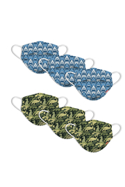 Watchitude Fun Carbon Masks Shark Frenzy/Dino Camo 6 Pack - Kids Ages 5-12 - Front full body