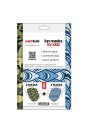 Watchitude Fun Carbon Masks Shark Frenzy/Dino Camo 6 Pack - Kids Ages 5-12 - Other