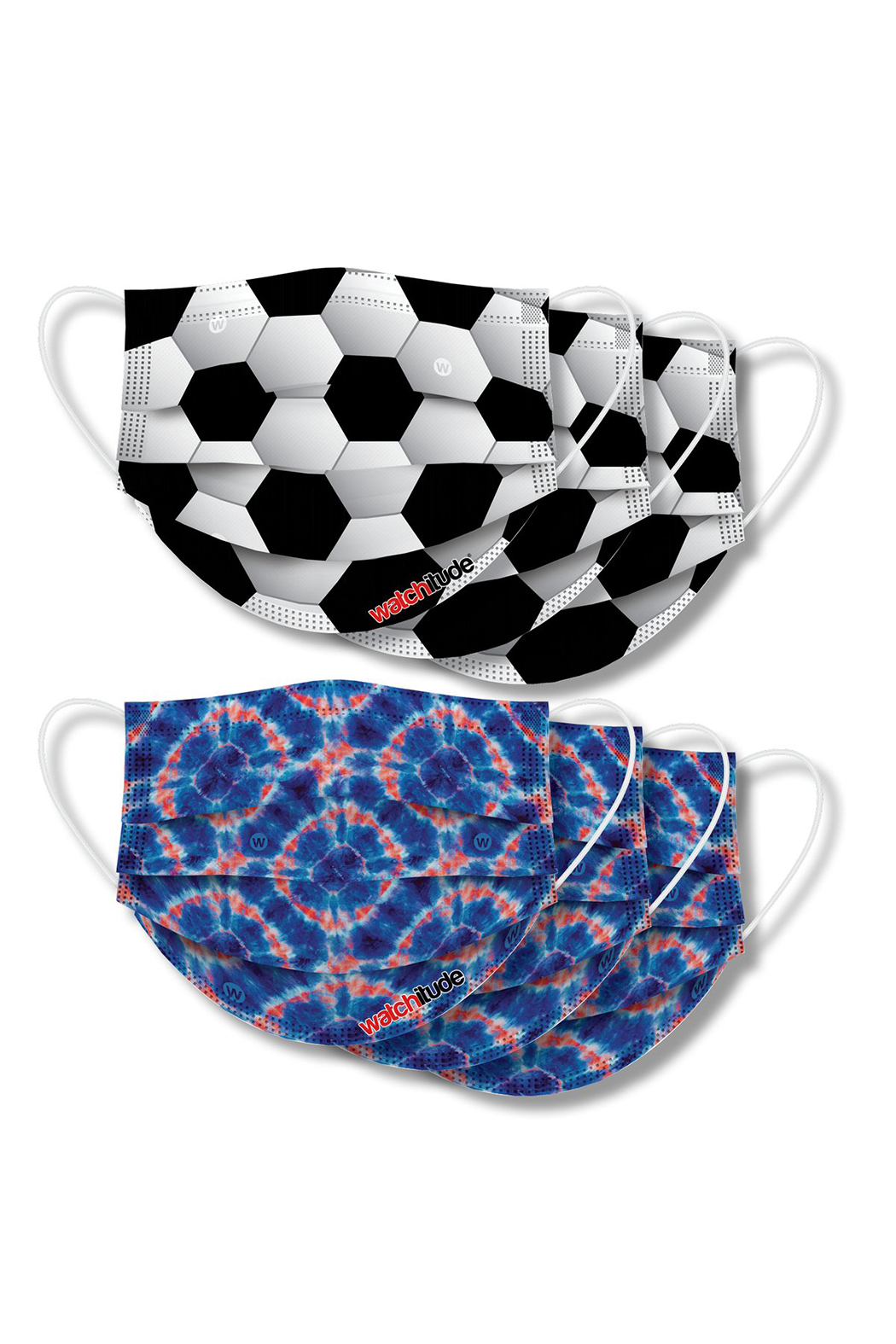 Watchitude Fun Carbon Masks Tie Dye Soccer 6 Pack - Kids Ages 5-1 - Main Image