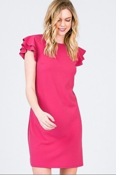 Shoptiques Product: Fun Ruffle Cap Sleeve Dress In Coral, Hot Pink & Green.