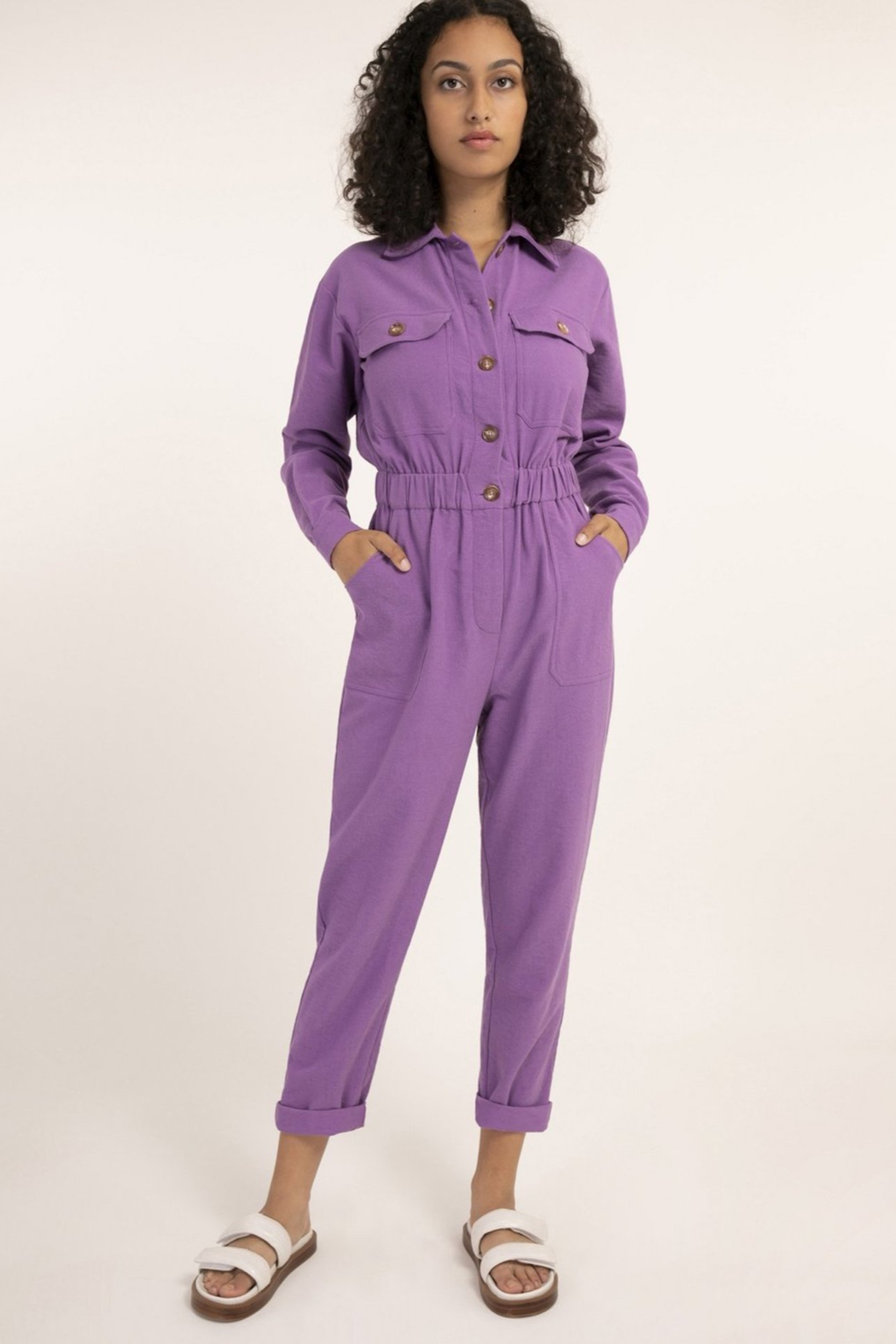 FRNCH Fun Violet Jumpsuit - Front Cropped Image