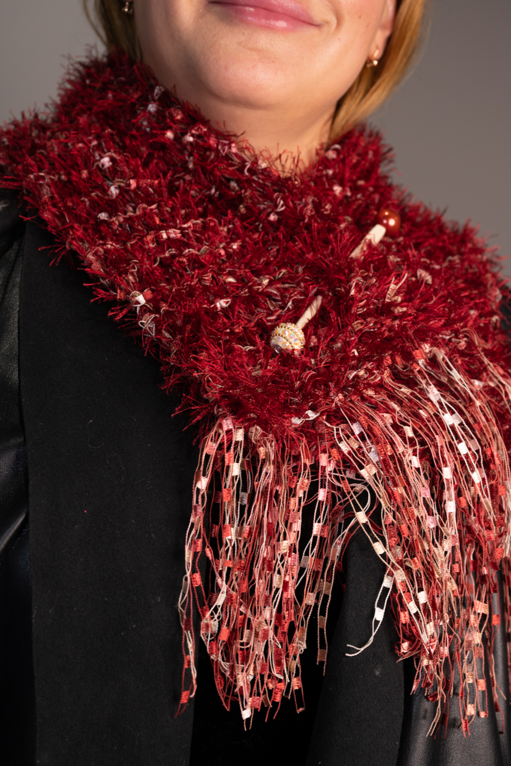 Handmade by CA artist Faux Fur Knit Scarf with Jeweled Pin - Hand-Knit - Main Image