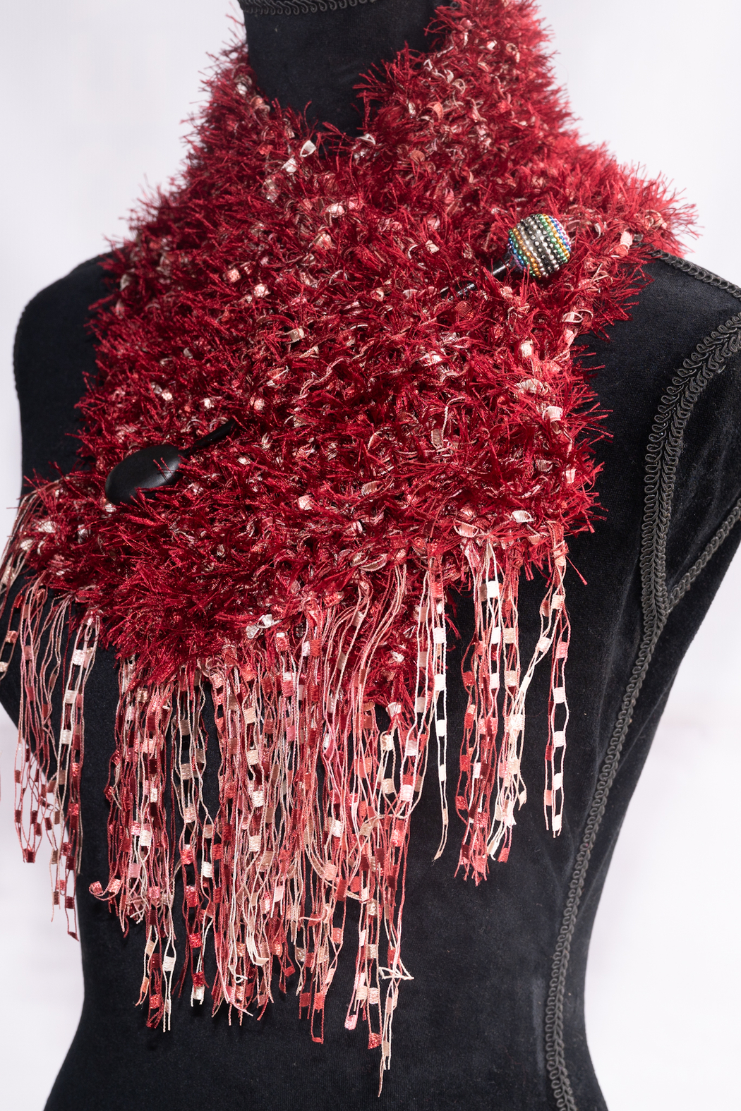 Handmade by CA artist Faux Fur Knit Scarf with Jeweled Pin - Hand-Knit - Back Cropped Image