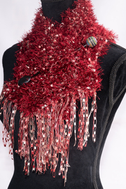 Handmade by CA artist Faux Fur Knit Scarf with Jeweled Pin - Hand-Knit - Back cropped