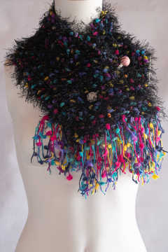 Handmade by CA artist Funfetti Faux Fur Collar Scarf with Jeweled Brooch - Product List Image
