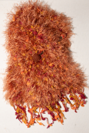 Handmade by CA artist Faux Fur Knit Scarf with Jeweled Pin - Hand-Knit - Product Mini Image