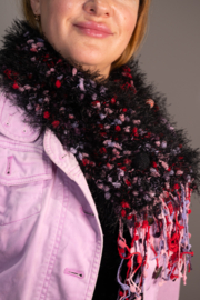 Handmade by CA artist Faux Fur Knit Scarf with Jeweled Pin - Hand-Knit - Front cropped