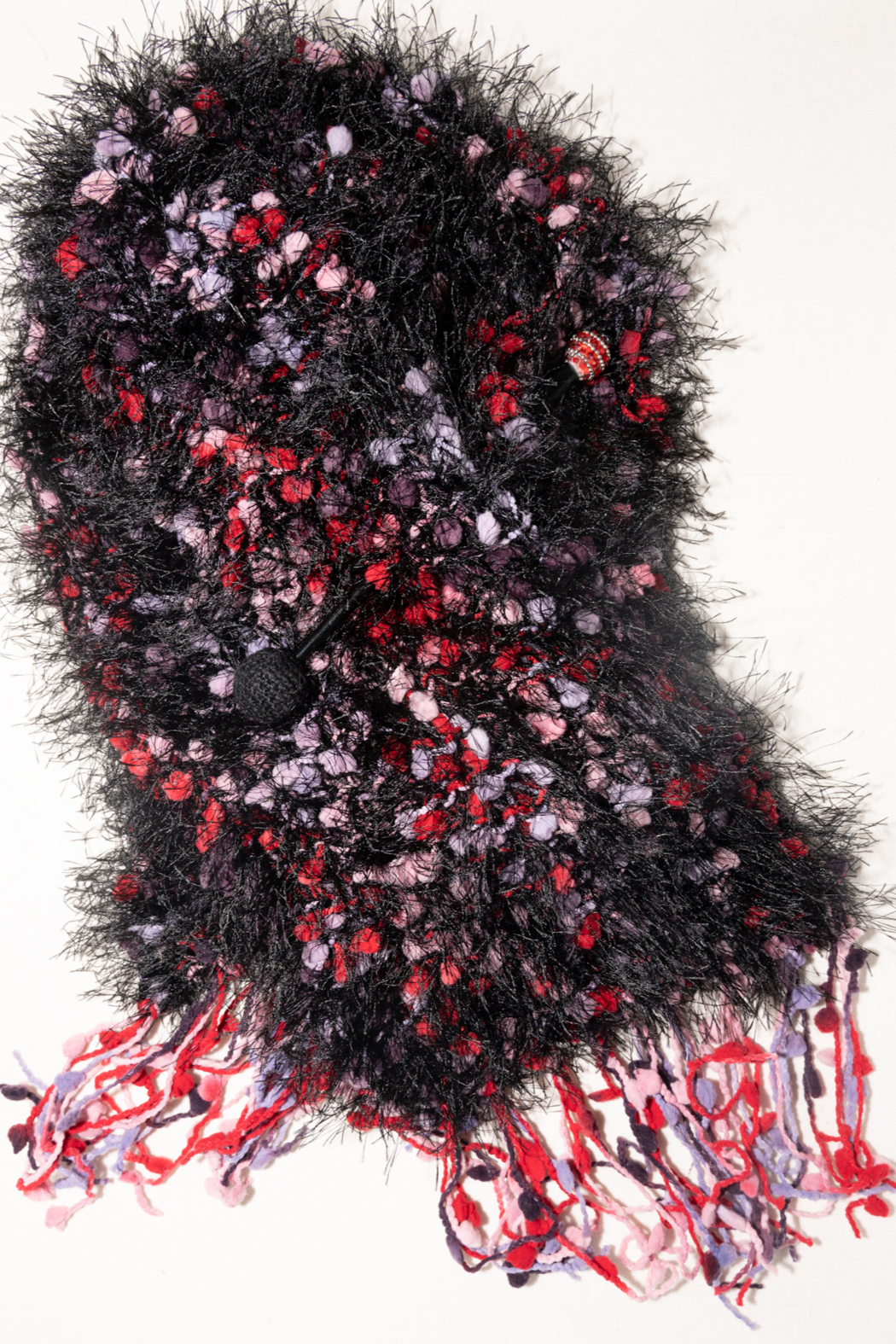 Handmade by CA artist Faux Fur Knit Scarf with Jeweled Pin - Hand-Knit - Front Full Image