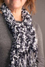 Handmade by CA artist Black and White Chunky Knit Scarf - Product Mini Image
