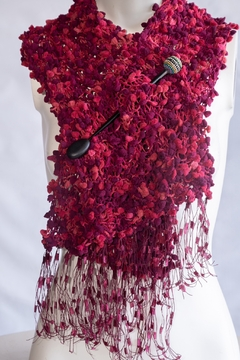 Handmade by CA artist Funfetti NO Fur Scarf with Jeweled Brooch - Product List Image