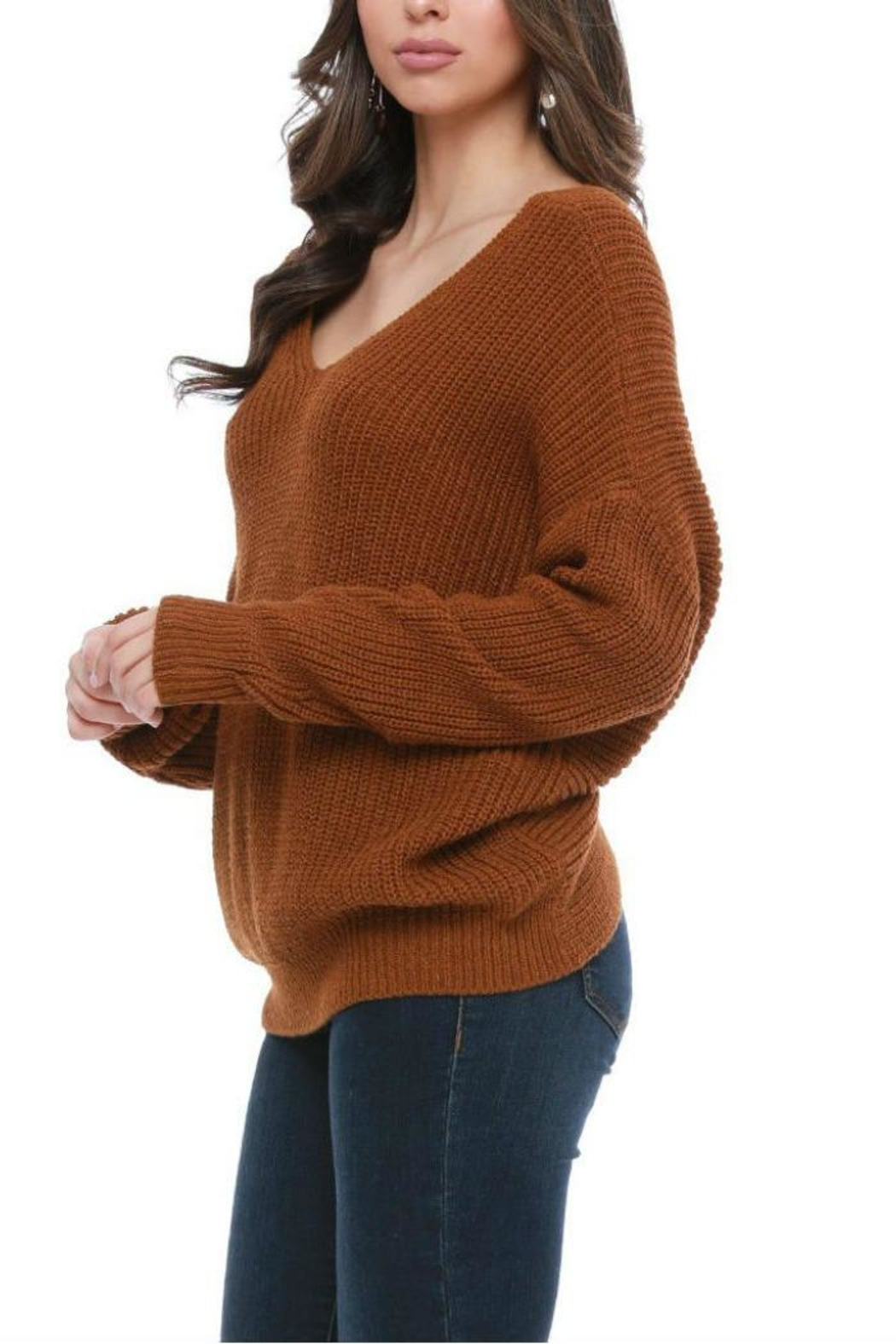 Funky Twist Back Sweater - Back Cropped Image