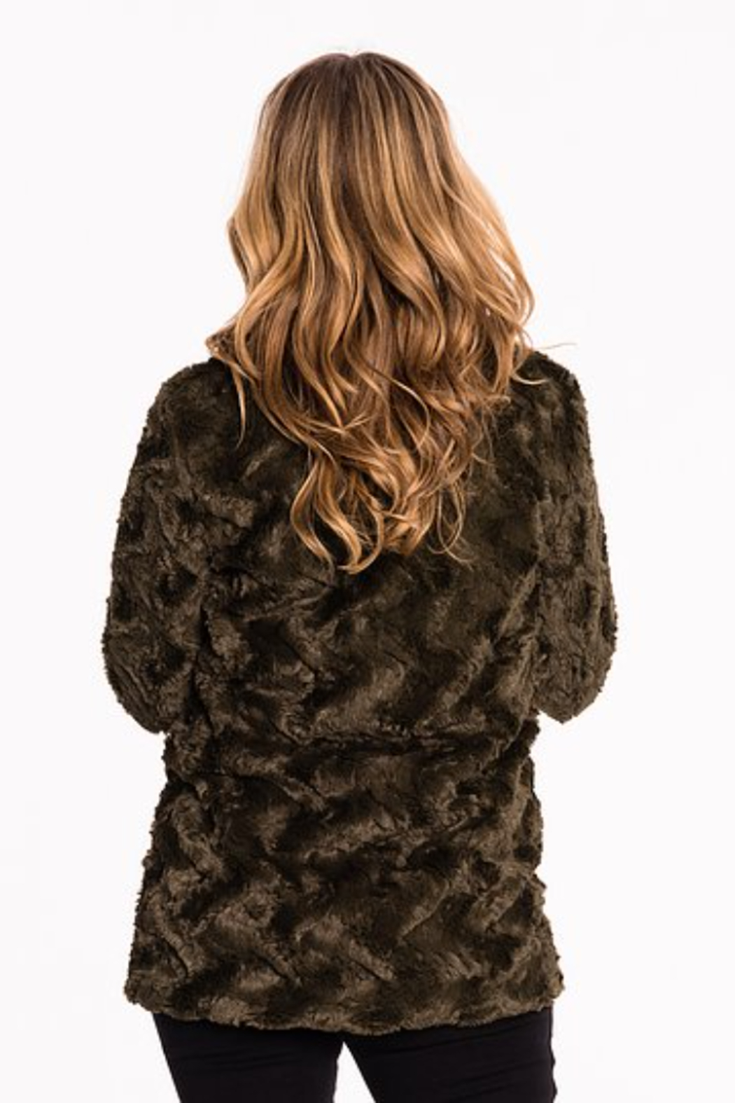 Biz FUNNEL NECK FUR COAT - Front Full Image