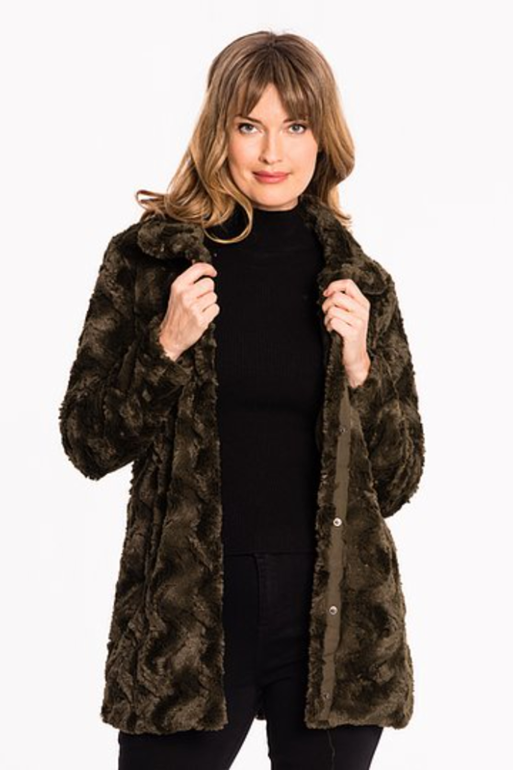 Biz FUNNEL NECK FUR COAT - Main Image