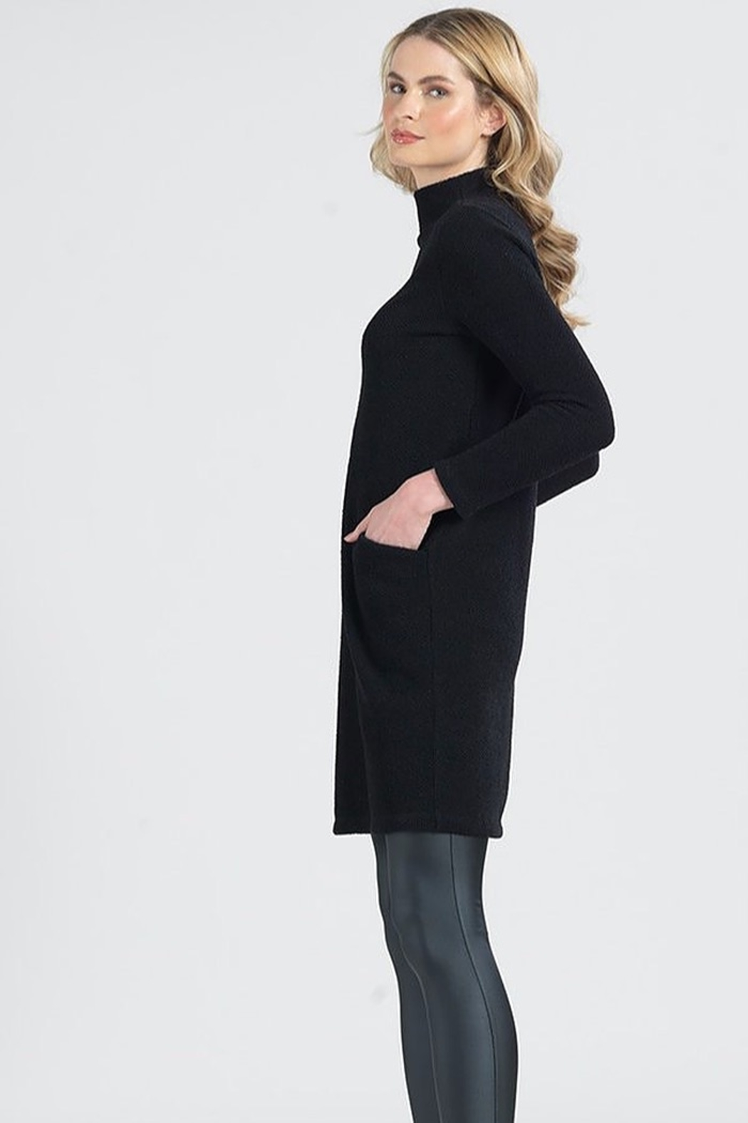 Clara Sunwoo Funnel Neck Knit Dress - Front Full Image