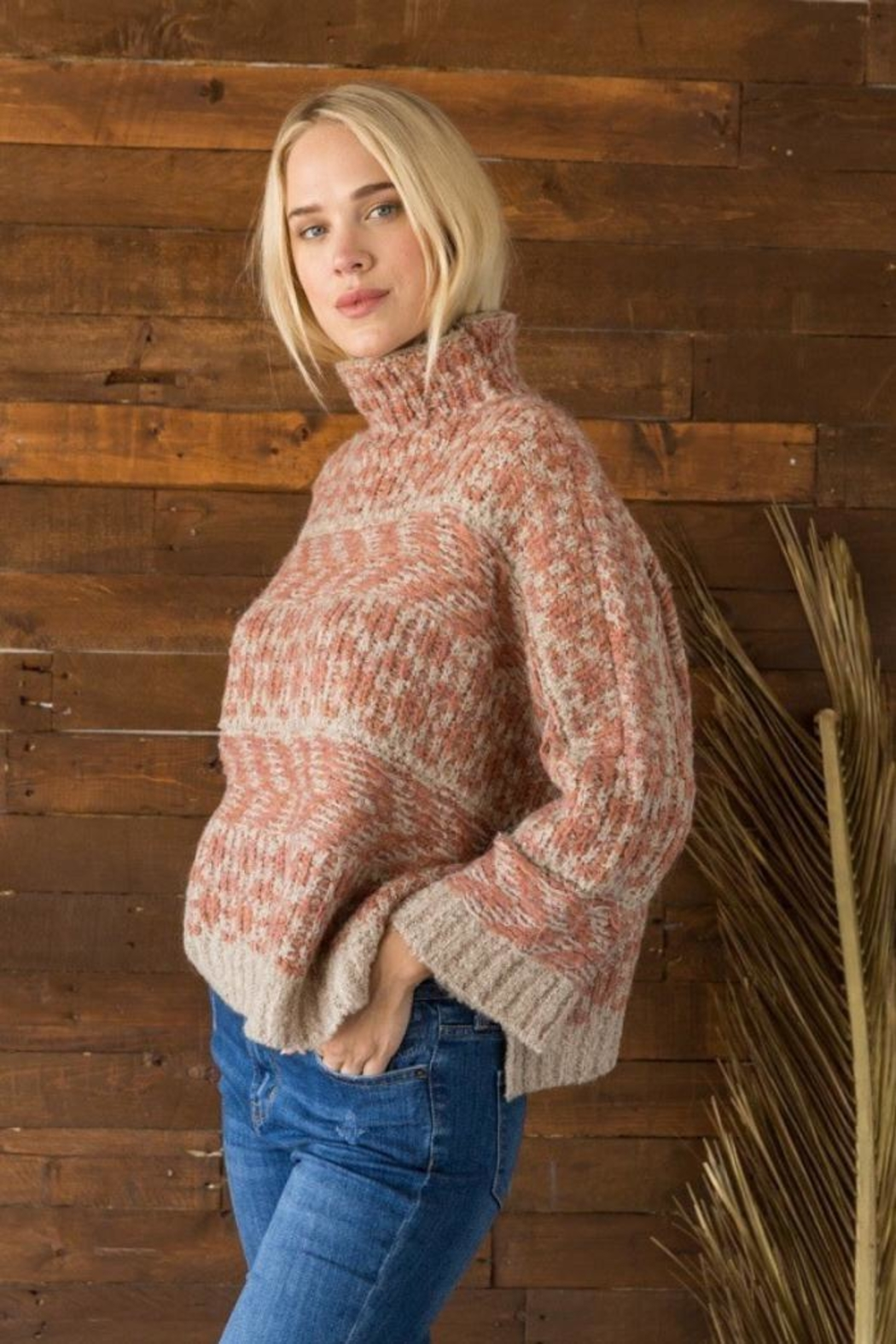 Mystree Funnel Neck Sweater - Side Cropped Image