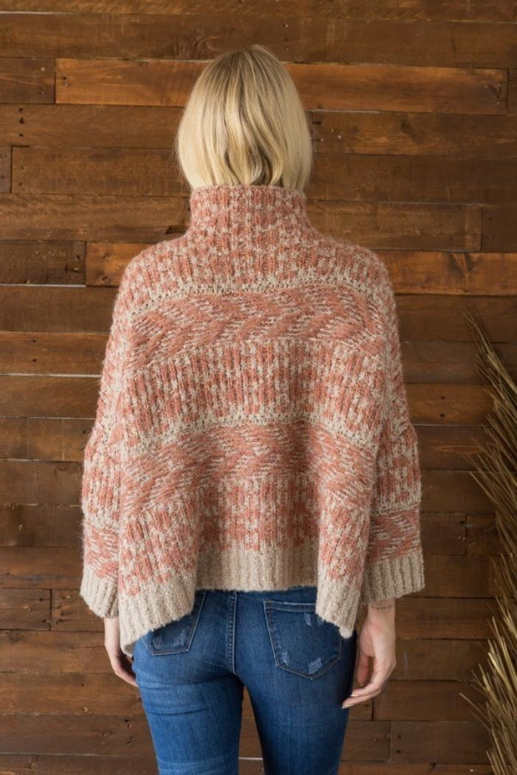 Mystree Funnel Neck Sweater - Back Cropped Image