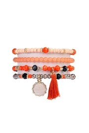 Riah Fashion Fur Ball, Tassel-Beads-Stretch-Bracelet - Product Mini Image