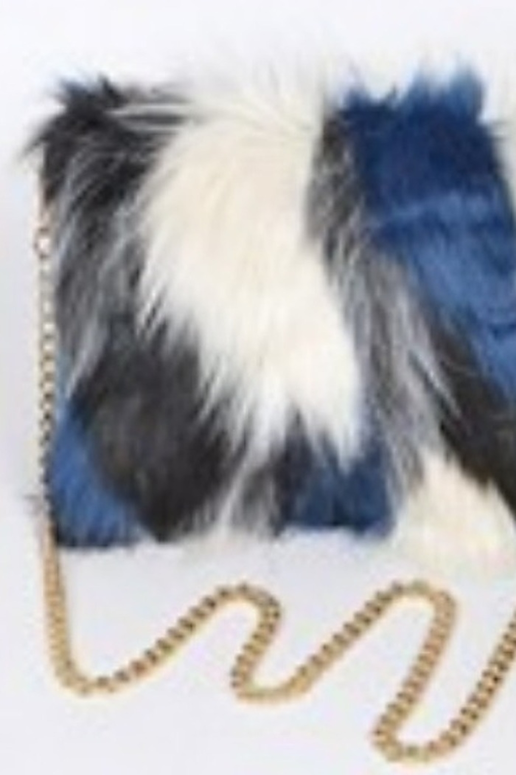 Tiny House of Fashion Fur Clutch Patchwork-Navy - Main Image