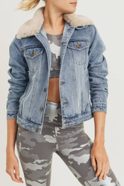 Mono B Fur Collar Denim Jacket - Front cropped