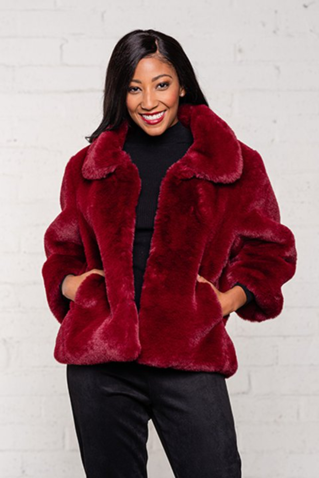Biz FUR CROP JACKET - Front Full Image