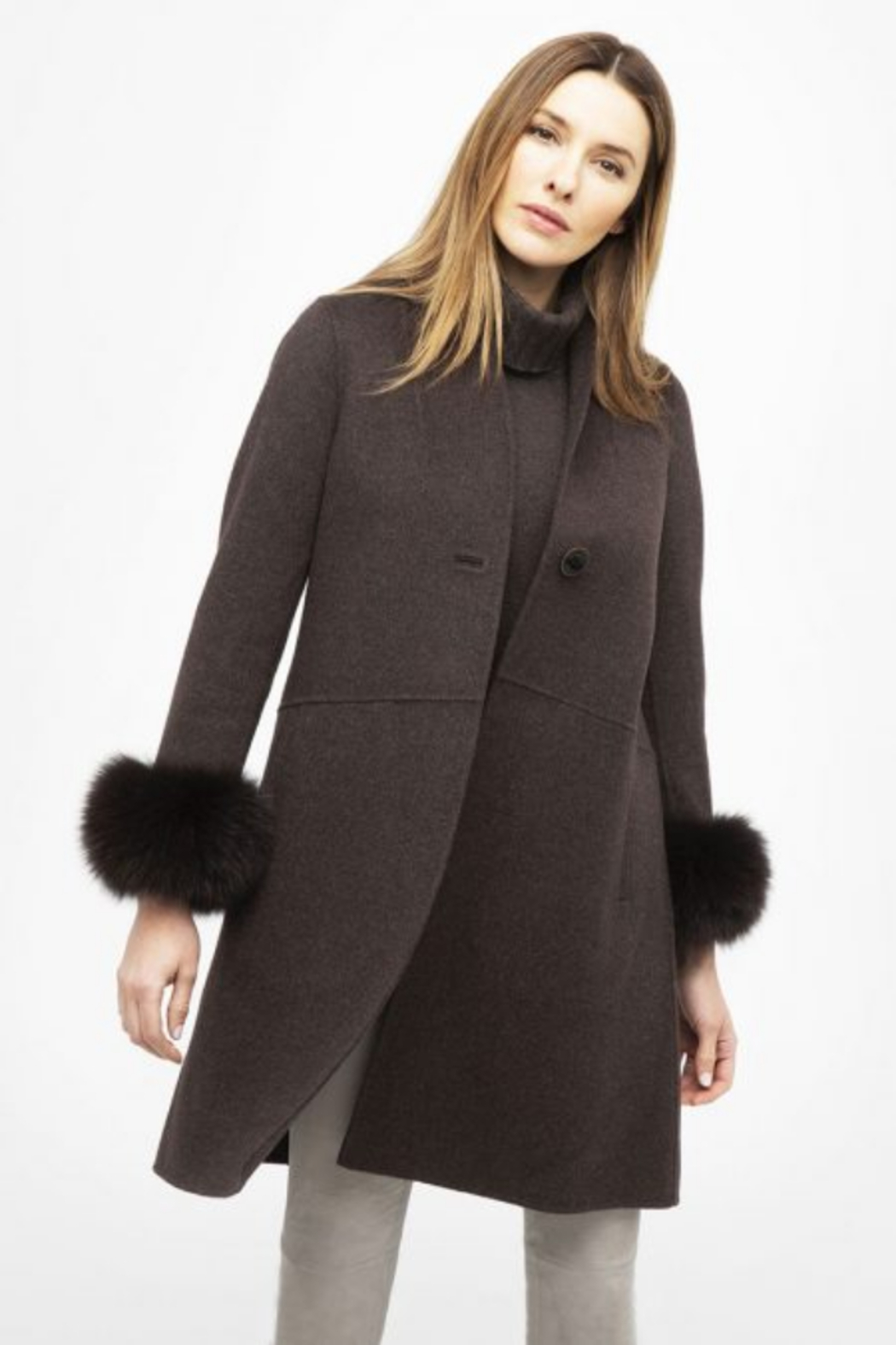 Kinross Cashmere FUR CUFF SWING COAT - Main Image